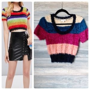 Cotton Candy LA fuzzy striped crop sweater top